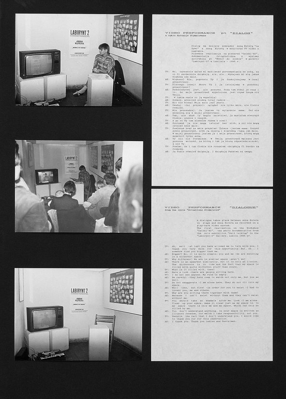 Anna Kutera. Dialog, performance, Labirynt Gallery in Lublin, 1985, author of the photo unknown (courtesy of the artist)