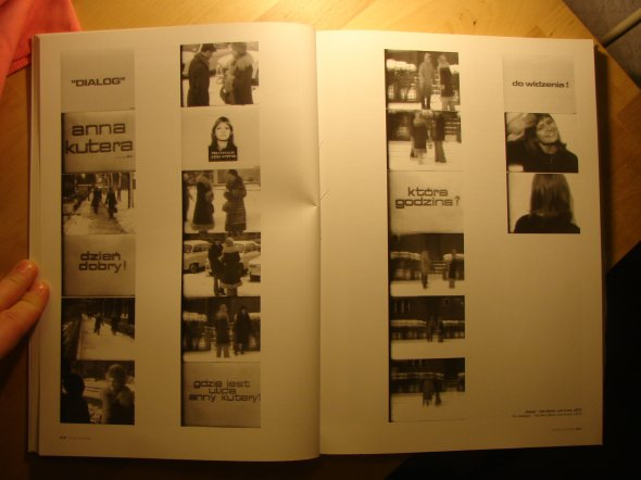 Catalogue pages with stills from Anna Kutera s movie Dialog, 1973