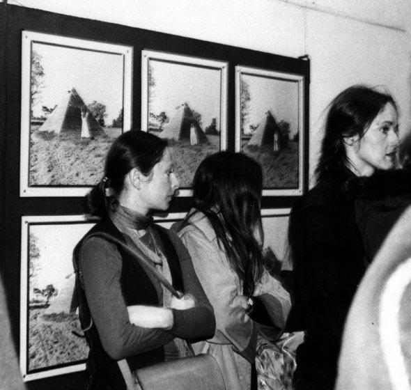 Openinig. Krystyna Piotrowska. In the background Natalia s LL Pyramid, 1979.